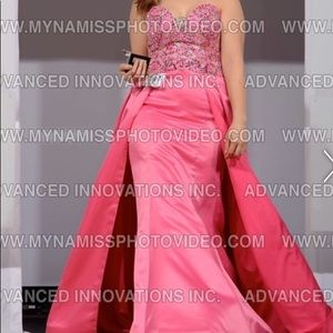 Bubblegum pink gown with train